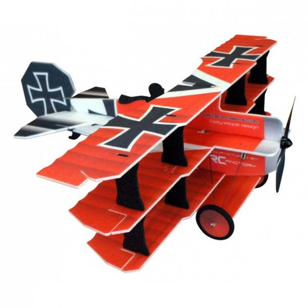 Crack Fokker Dr. I, rød/gul EPP model.