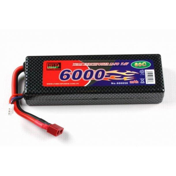 7,4 Volt 6000mAh LiPo batteri i hard case 60C
