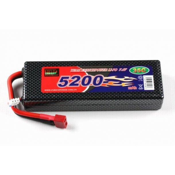 7,4 Volt 5200mAh LiPo batteri i hard case 35C