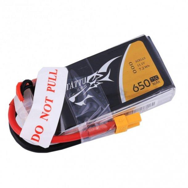 TATTU 650mAh 11.1V 75C 3S Lipo batteri, XT30 stik.
