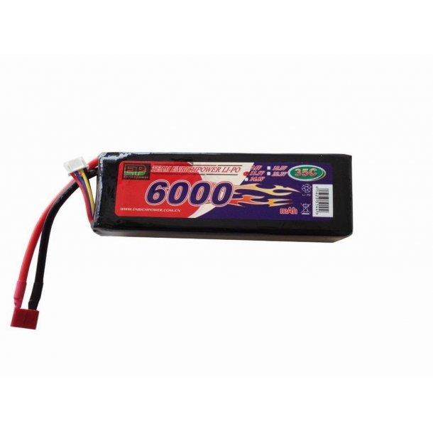 11,1 Volt 6000mAh LiPo batteri, 35C, hardcase