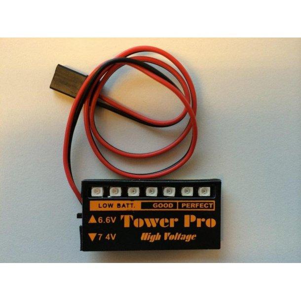 Batteri kontrol til både 6,6 og 7,4 volt