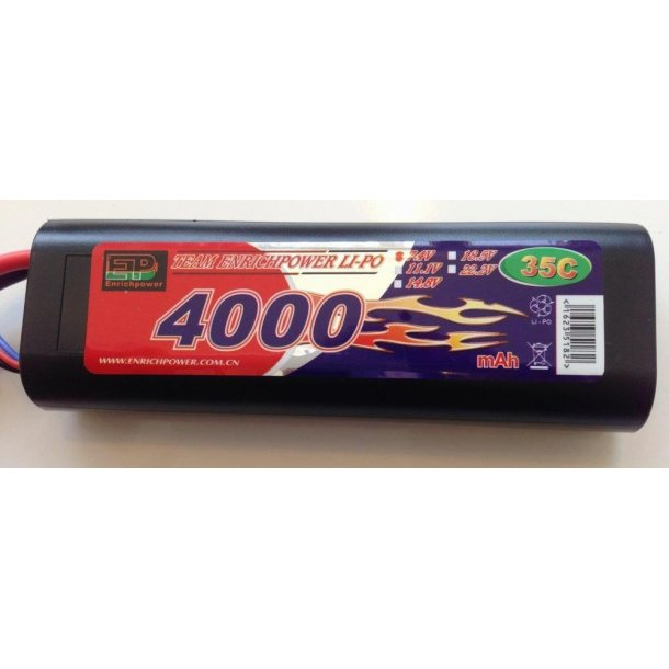 7,4 Volt 4000mAh LiPo batteri ny hard case 35C