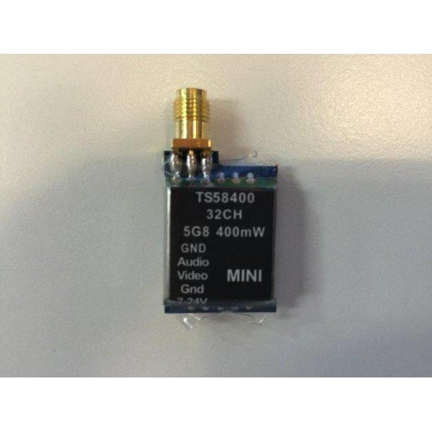 Mini videosender på 400mW, 5,8GHz med 32 kanaler