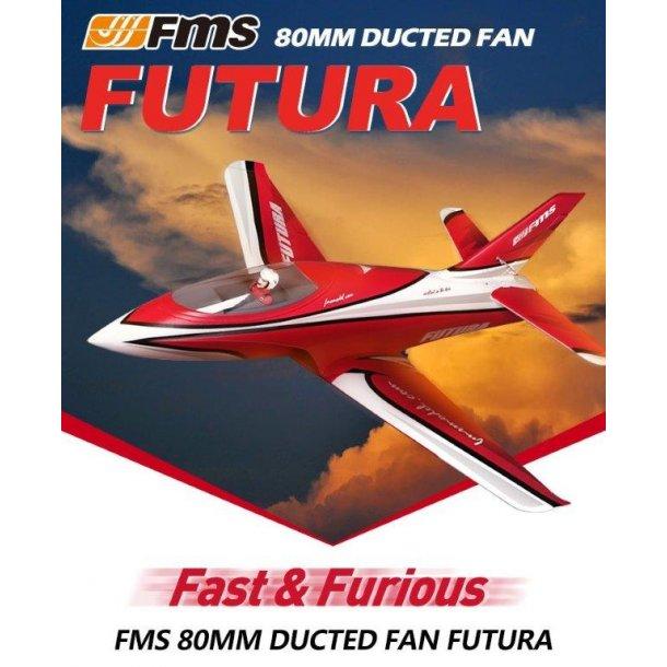 FMS 80mm Futura rød jagerfly PNP. BESTILLINGSVARE.