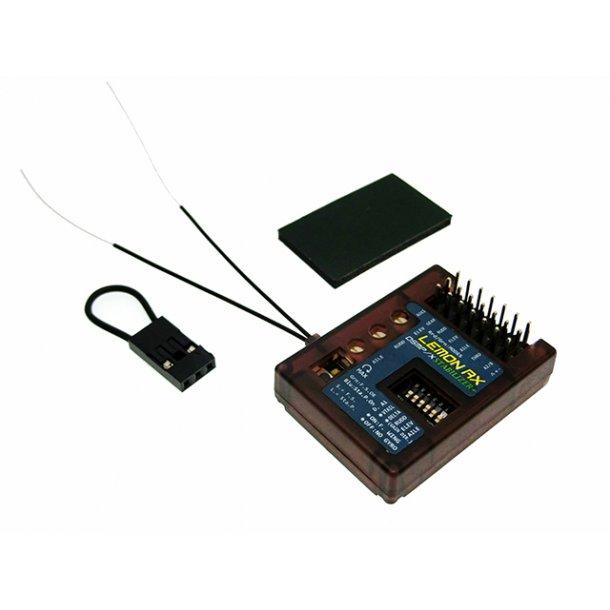 Lemon DSMX Spektrum kompatibel 7-kanals stabilizer Plus/modtager med diversity antenner.