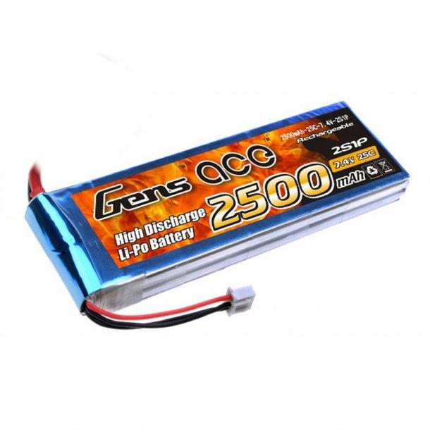 Gens ace 2500mAh 7.4V 25C 2S Lipo batteri med XT60 stik.