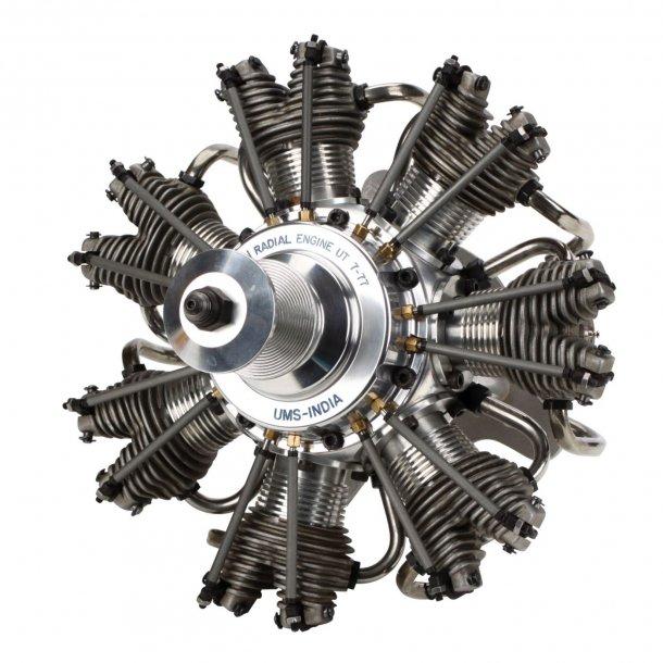 Evolution 7 cylindret 4-takt stjernemotor 77 cc Metanolmotor.