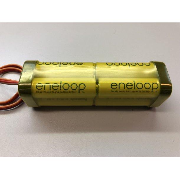 Eneloop sender batteri, 9,6 Volt, 1900 mAh.