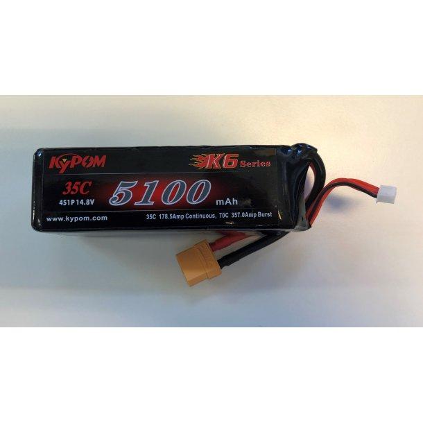 5100 mAh-4S, 35C Kypom LiPo batteri.