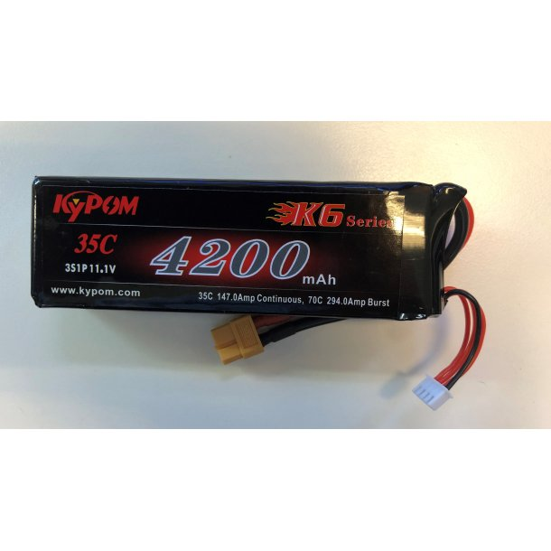 4200 mAh-3S, 35C Kypom LiPo batteri.