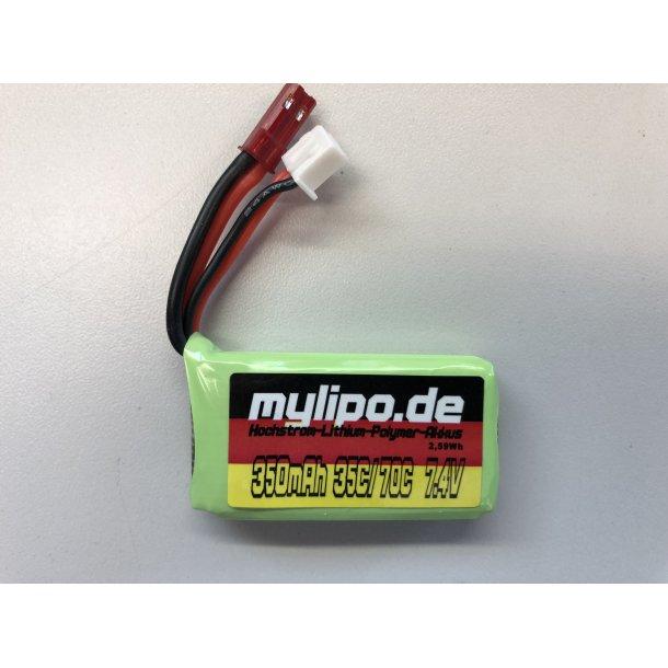 MyLiPo 350 mAh-2S LiPo batteri, JST stik.