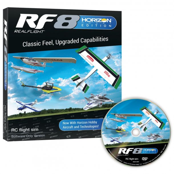 Realflight RF-8 Horizon Hobby udgave simulator software.
