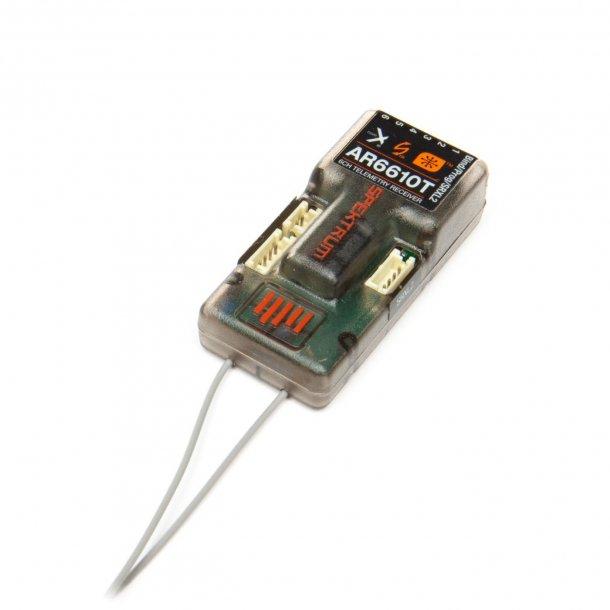 Spektrum AR6610T DSMX™ 6-kanals variometer telemetri-modtager, 2,4GHz.