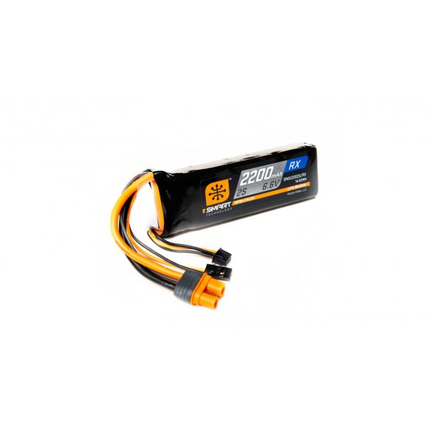 6.6V 2200mAh 2S 15C Smart LiFe Receiver Battery: Universal Receiver, IC3. BESTILLINGSVARE.