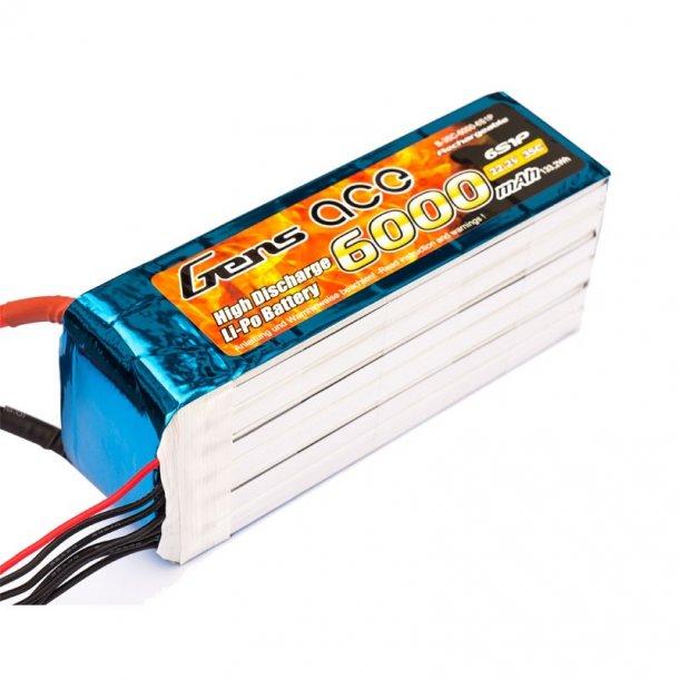 Gens ace 6000mAh 22.2V 35C 6S Lipo batteri.