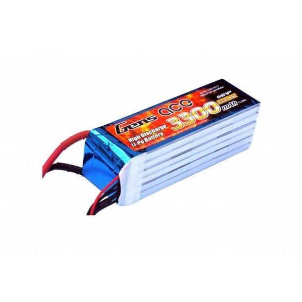 Gens ace 3300mAh 22.2V 45C Lipo batteri, EC5 stik.
