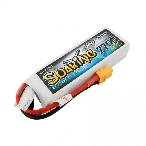 Gens Ace Soaring 2700mAh 11.1V 30C Lipo batteri med XT60 stik.