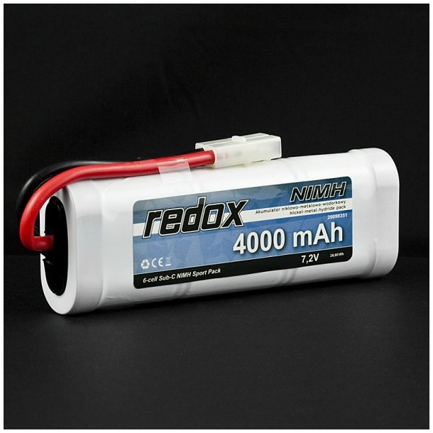 Redox 4000 mAh 7,2V - Ni-MH batteri med Tamiya stik.