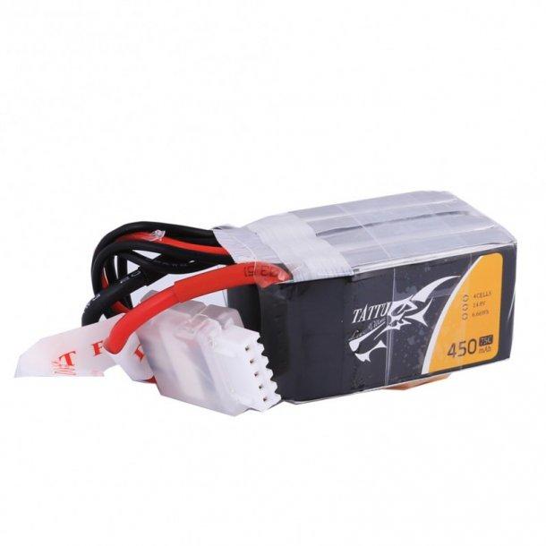 TATTU 450mAh 14.8V 75C 4S Lipo batteri, XT-30 stik.