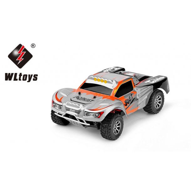1:18 4WD Short Truck, 50 km/h. Orange/sølvfarvet.